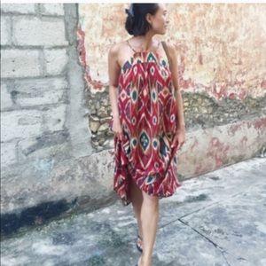 Anthro | Saturday Sunday Ikat Silk Shift Dress Red